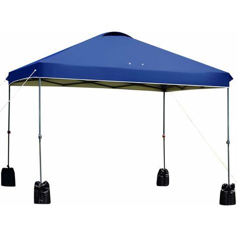 GOPLUS Tonnelle de Jardin 3 x 3M Imperméable Anti-UV avec Piquets de Terre et Sacs de Sable, Tente Réception Pliante Réglable en Hauteur avec Sac de Transport pour Jardin, Fête, Camping (Bleu)