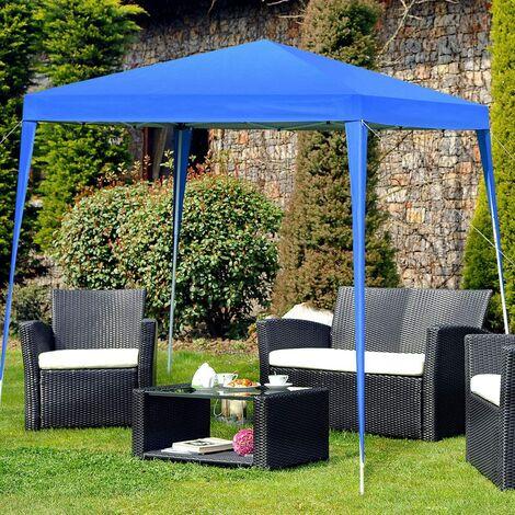 GOPLUS Tonnelle Pliable de Jardin, Tente de Réception Auvent, Matière de la Toile Oxford, pour Camping, Festival, Plage, Jardin, 3X3X2,5M (Bleu)