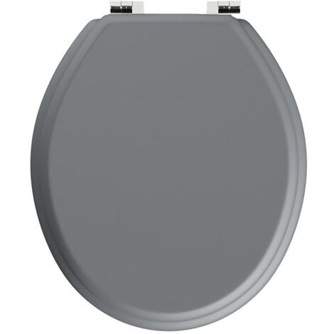 Gorge Oval Shaped Light Grey WC Toilet Seat and Top Fixings