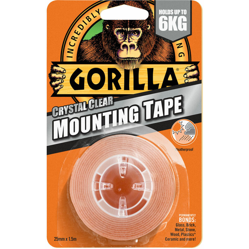 Image of 3044101 Gorilla Heavy-Duty Mounting Tape 25.4mmx1.52m Crystal Clear - Gorilla Glue