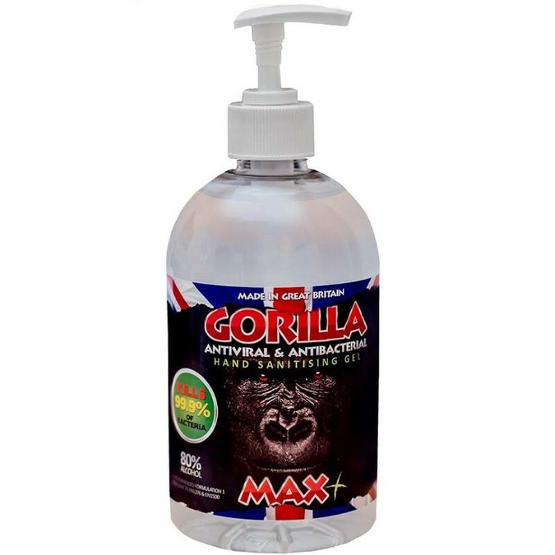 Image of Gorilla Wipes - Gorilla MAX+ 80% Alcohol Hand Sanitiser Gel Dispenser WHO Approved Formula 1