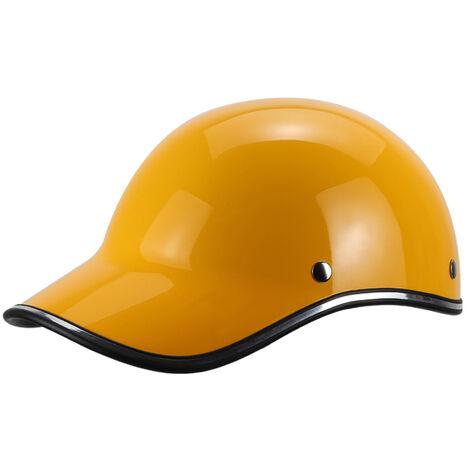 Gorra de beisbol casco de la motocicleta de la bici del casco de ciclista Medio casco Hombres Mujeres jovenes, Amarillo