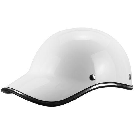 Gorra de beisbol casco de la motocicleta de la bici del casco de ciclista Medio casco Hombres Mujeres jovenes, blanca