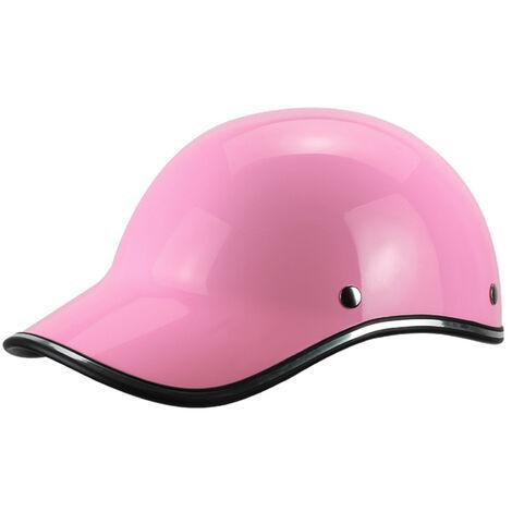 Gorra de beisbol casco de la motocicleta de la bici del casco de ciclista Medio casco Hombres Mujeres jovenes, Rosa