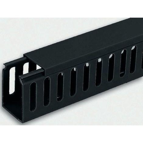 Goulotte de câblage, Noir en PVC, Fermé, 25 mm x 60mm 2m pour armoire