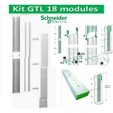 Goulotte GTL 18 Modules 2 compartiments clipsable Rési9 Schneider R9HKT18