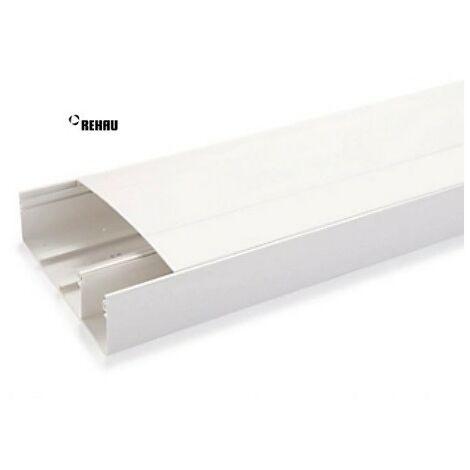 Goulotte GTL blanche 2m50 largeur 13M prof 60mm pack avec socle + couvercle + 6 agrafes COFRALIS REHAU 730022