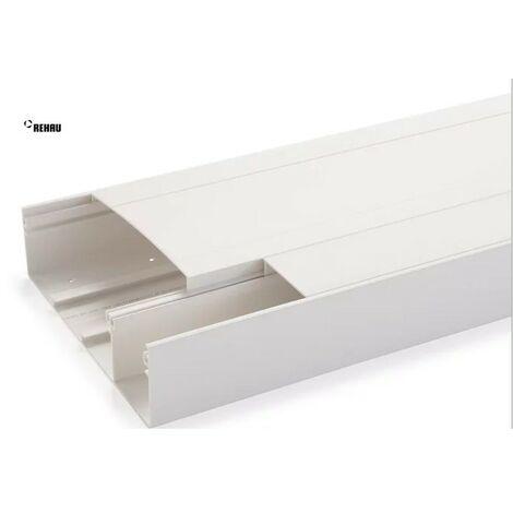 Goulotte GTL blanche largeur 13M long 2m50 prof 60mm pack avec socle + 2 couvercles 190+60mm + 6 agrafes COFRALIS REHAU 730029