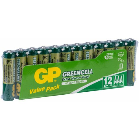 GP GPPC24UC056 AAA Carbon Zinc Greencell Heavy Duty Value Pack of 12