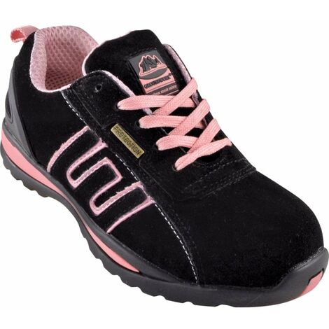 GR86 Women's Black/Pink Suede Safety Trainers
