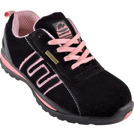 GR86 Women\'s Black/Pink Suede Safety Trainers
