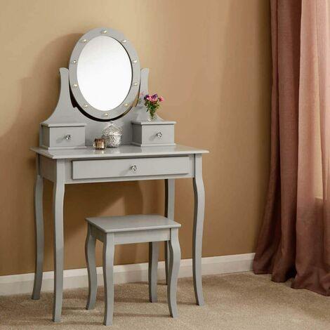 "main image of ""Grace LED Dressing Table 3 Drawer Stool Grey Makeup Mirror Bedroom Vanity Desk"""