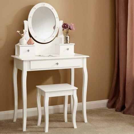 "main image of ""Grace LED Dressing Table 3 Drawer Stool White Makeup Mirror Bedroom Vanity Desk"""