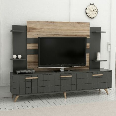 Grace Modern TV Stand - with Doors, Shelves - for Living Room - Walnut, Anthracite, made in Wood, 180 x 35 x 136 cm