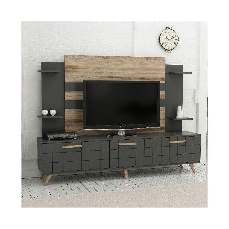 Homemania - Grace TV-Schrank - Modern - mit Tueren, Regalen, Einlegeboeden - vom Wohnzimmer - Nussbaum, Anthrazit aus Holz, 180 x 35 x 136 cm