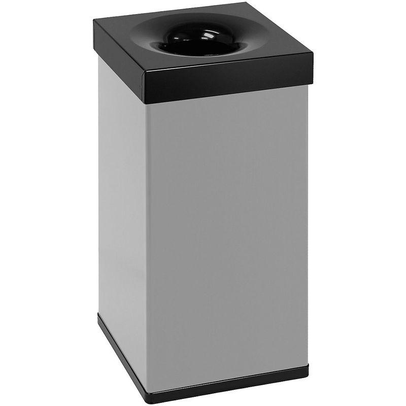 Certeo - Corbeille à papier, quadrangulaire, autoextinguible, gris / noir - Coloris poubelle: Gris