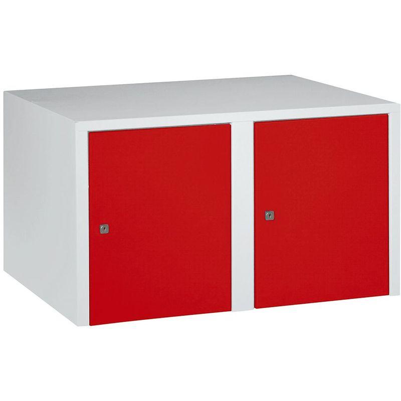 Certeo - Wolf Rehausse - 2 compartiments, h x l x p 445 x 800 x 500 mm - rouge feu - Coloris des portes: rouge feu RAL 3000