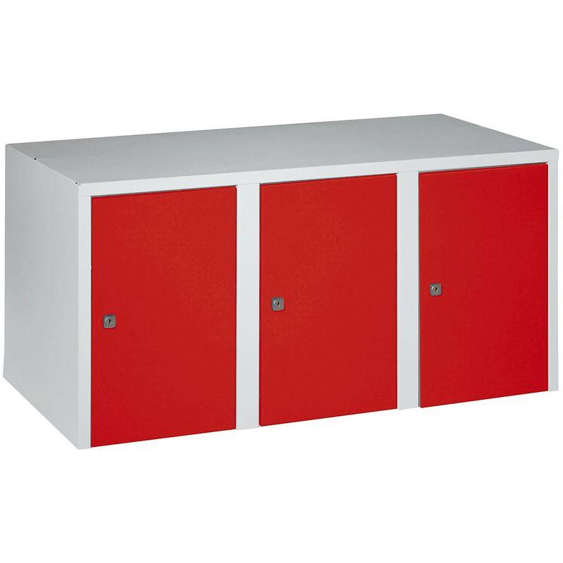 Certeo - Wolf Rehausse - 3 compartiments, h x l x p 445 x 900 x 500 mm - rouge feu - Coloris des portes: rouge feu RAL 3000