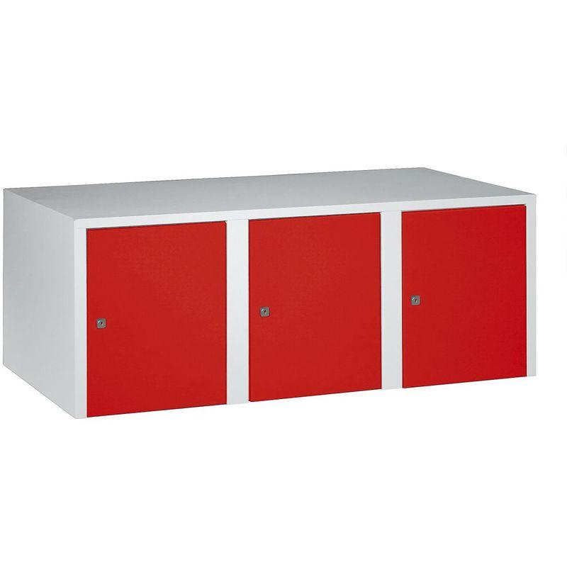 Certeo - Wolf Rehausse - 3 compartiments, h x l x p 445 x 1200 x 500 mm - rouge feu - Coloris des portes: rouge feu RAL 3000