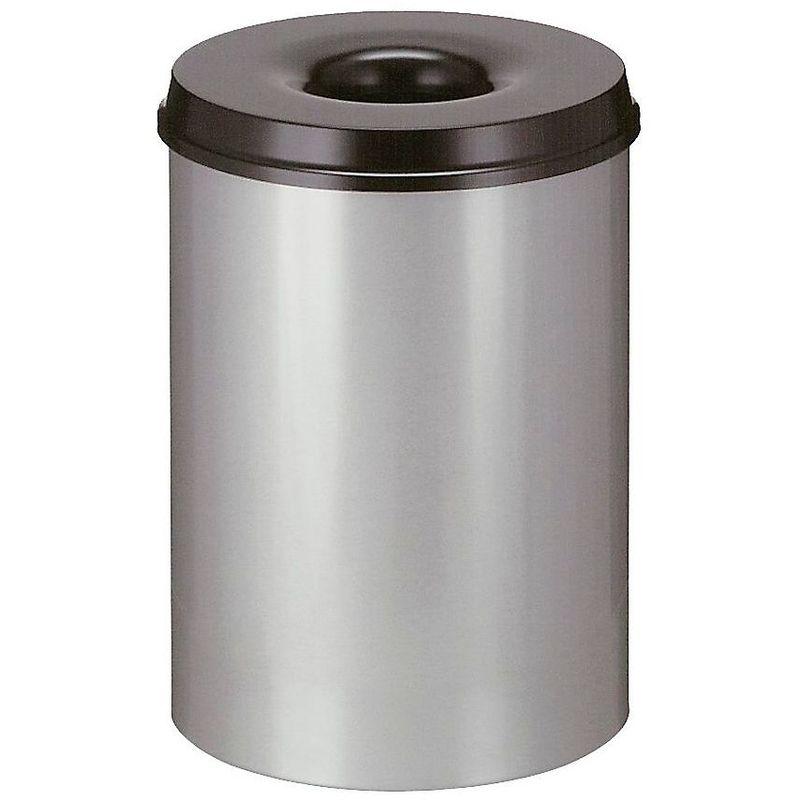 Corbeille à papier auto-extinguible, capacité 30 l, corps gris / étouffoir noir - Coloris poubelle: Gris RAL 7035