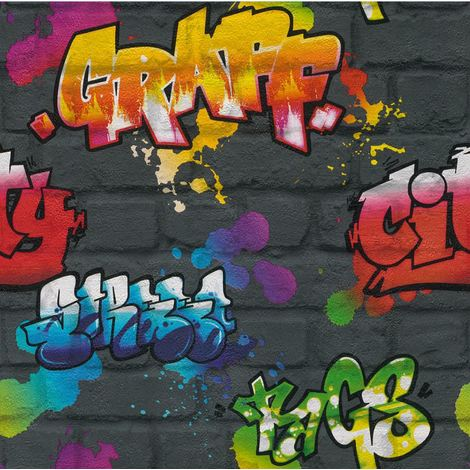 Graffiti Paint Splash Brick Effect Wallpaper Textured Typography Dark Grey Multi