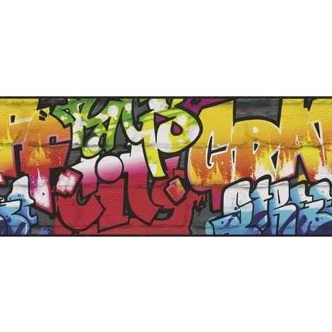 Graffiti Wallpaper Border Brick Effect Urban Modern Dark Grey Multi Coloured
