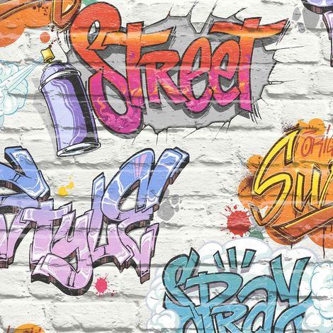 Graffiti Wallpaper Brick Effect Slate Stone Urban Street Modern Metallic Muriva