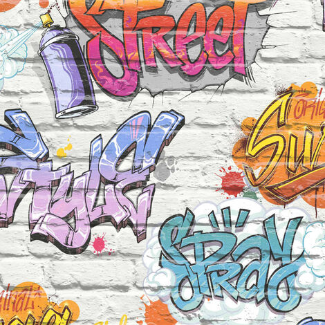 Graffiti Wallpaper Brick Effect Slate Stone Urban Street Modern Metallic Muriva