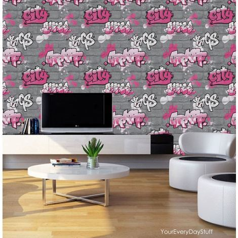 Graffiti Wallpaper Paint Splash Brick Effect Textured Silver Grey Pink Black
