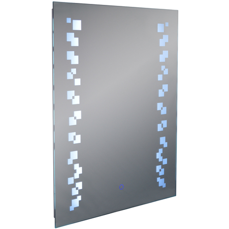 GRAFIK - LED Illuminated 80 x 60cm Rectangular Wall Mirror with Demister and Dimmer