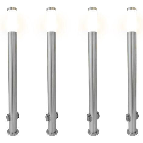 Grafner Edelstahl Wegleuchte mit 2 Außensteckdosen Gartenlampe 110 cm 4er Set