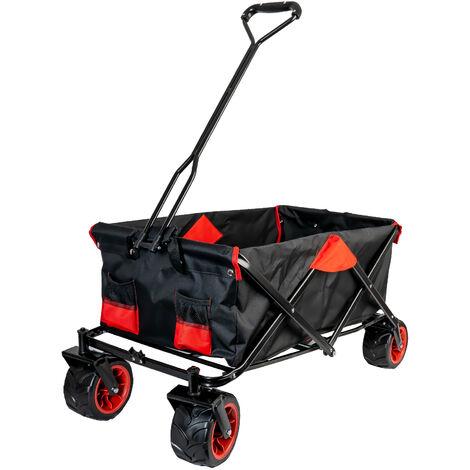 Grafner Faltbarer Bollerwagen Offroad schwarz/rot Handwagen Klappbar