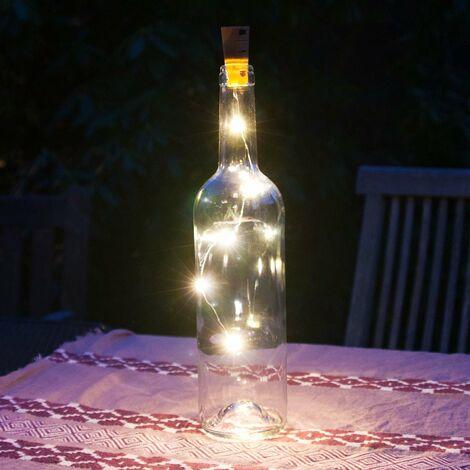 Grafner Korken mit LED Lichterkette für Weinflaschen Drahtlichterkette Flaschenbeleuchtung 4er Set
