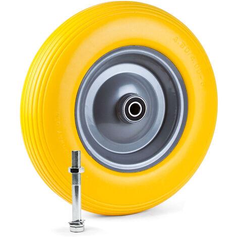 Grafner® Schubkarrenrad 4.00-8 PU Vollgummibereifung FlatFree Metallfelge mit Achse Schubkarrenreife