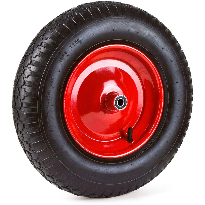 2 x Schubkarrenrad 4.80 4.00-8 PU Vollgummi Ersatzrad Stahlfelge schwarz-rot