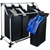 Grafner Wäschesortierer mit 4 Fächer Wäschewagen mit Ablage Wäschesammler auf Rollen