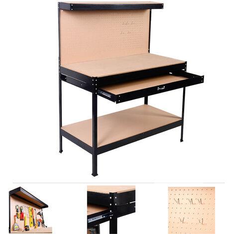 Grafner® Werkbank mit Schublade und Lochwand Werkzeugtisch ...