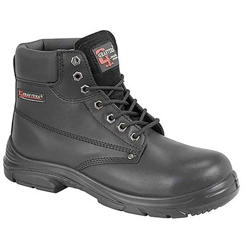 Image of Grafter Mens Wide Fitting Lace Up Safety Boots (40 EU) (Black)