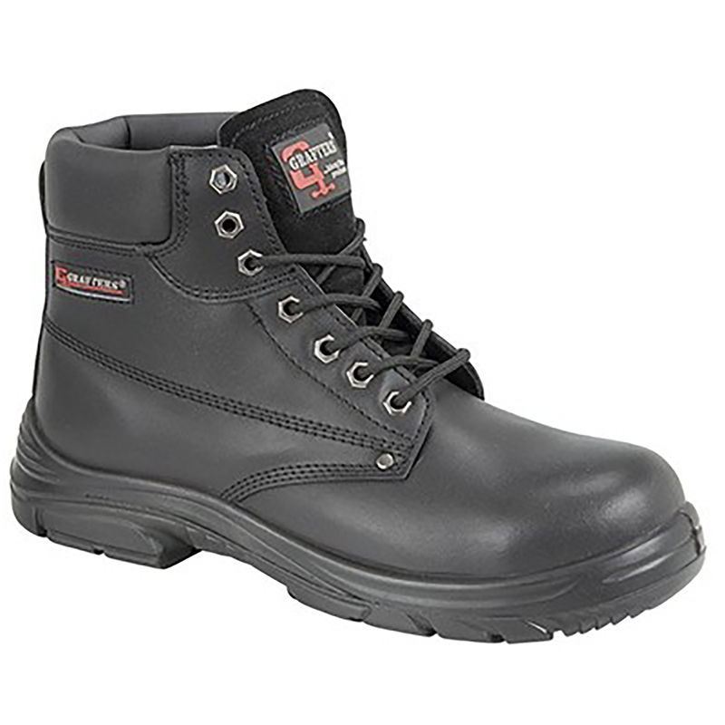 Image of Grafter Mens Wide Fitting Lace Up Safety Boots (41 EU) (Black)