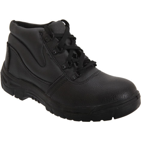 Grafters Mens Grain Leather Padded Ankle Safety Toe Cap & Steel Midsole Boots