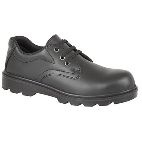 Grafters Mens Plain 3 Eye Shine Leather Safety Shoes