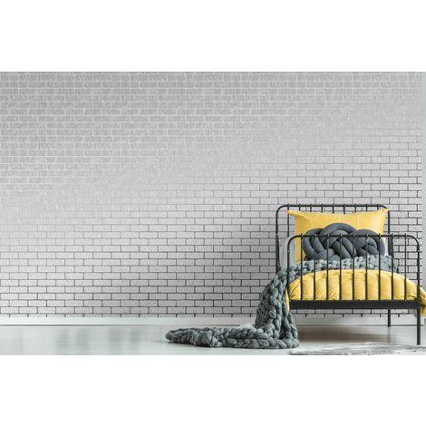 Graham & Brown Wallpaper 106523 Milan Brick Silver