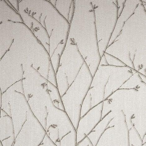 Graham & Brown Wallpaper Water Silk Sprig Ivory 104756