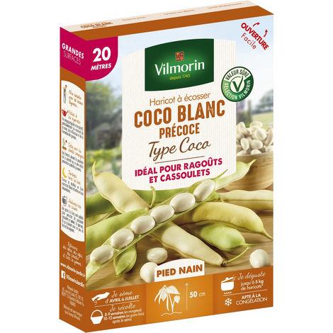 Graines de Haricot à écosser Coco Blanc Précoce type Coco 20m - Phaseolus Vulgaris