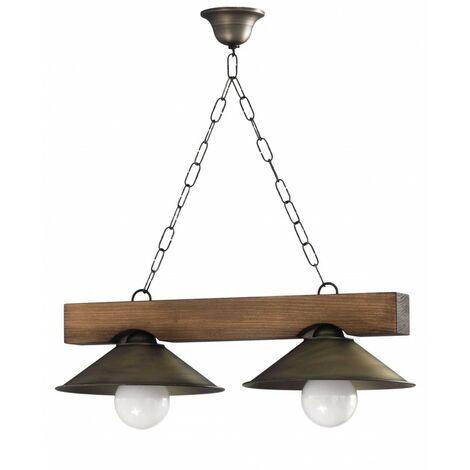 Gran oferta lámpara rustica con pantallas de metal 2 Luces.