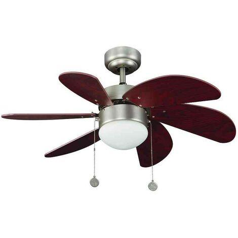 Gran oferta ventilador de techo moderno con luz IRIS niquel-cerezo