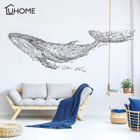 Grand 165 * 55 Cm / 65 * 21in noir bricolage 3D géométrique baleine PVC stickers muraux / adhésif famille Stickers muraux Art mural décor à la maison