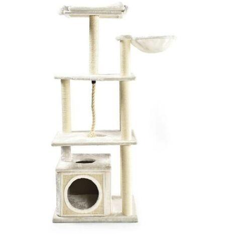 Grand Arbre a chat avec niche - 108 x 60 x H.178 cm - Blanc