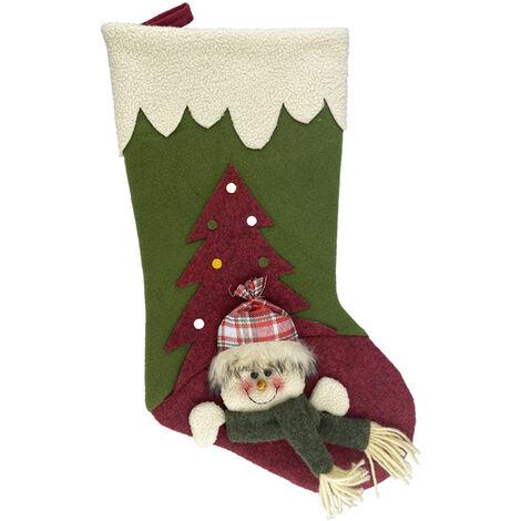 Grand Bas De Noel 19 Pouces Classique De Noel Bas 3D Pere Noel Bonhomme De Neige Renne Decorations