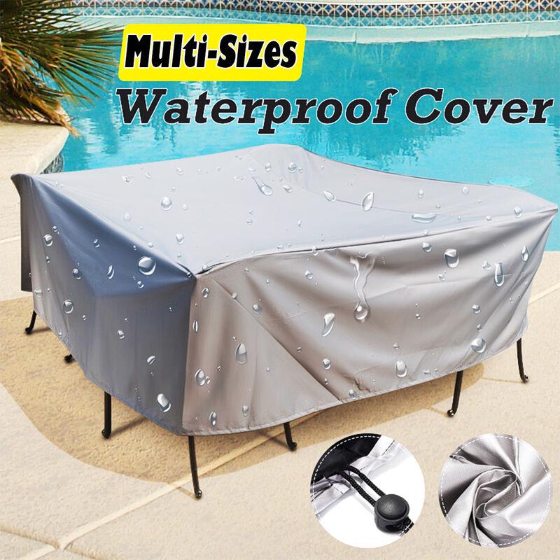 Grand ensemble de cube de table de rotin de patio de meubles de jardin de couverture extérieure (231x231x90cm)